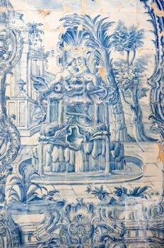 Azulejos in the cloister of The Royal Palace (Palcio Nacional de Sintra) in Sintra near Lisbon, UNESCO World Heritage Site, Portugal.