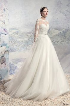 papilio 2016 bridal lace long sleeves illusion bateau sweetheart neckline heavily embellished bodice tulle skirt princess a  line wedding dress chapel train (1628l athabasca) mv