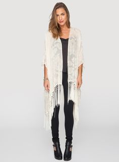 The 4 Love & Liberty Emeliana Fringe Jacket is the ultimate bohemian statement piece. This luxe silk velvet burnout kimono jacket features a boxy draped cut and long tassels with braiding detail along the hemline. Pair this romantic boho-chic kimono with Fringe Jacket, Kimono Jacket, Kimono Top, Bohemian Kimono, White Bohemian, Johnny Was Clothing, Silk Chiffon, Boho Chic, My Style