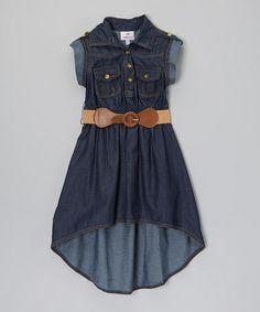 Look what I found on #zulily! Blue Belted Hi-Low Dress - Girls #zulilyfinds