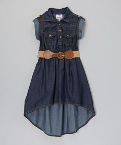 Look what I found on #zulily! Blue Belted Hi-Low Dress - Girls #zulilyfinds
