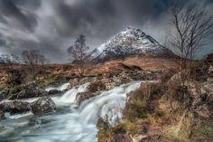Buachaille Etive Mor Waterfalls, Glencoe, Scotland by Trevor Cole / Glencoe Scotland, Mount Rainier, Edinburgh, Sky, Mountains, Nature, Waterfalls, Travel, Outdoor
