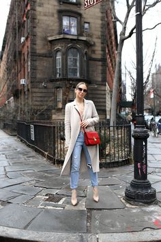 Two Looks, From Day To Night | Spring Style, Beige Trench, Red Bag