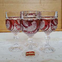 Set of 4 Vintage Hofbauer Byrdes German Crystal Cordial/Dessert Wine Glasses #Hofbauer