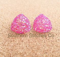 Earrings Hot Pink Druzy Stud Triangle by SouthernStitchesCo