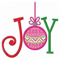 Christmas joy ornament applique machine embroidery design