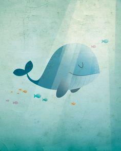 Happy Whale - Irene Gough, vrolijke en originele posters voor de kinderkamer