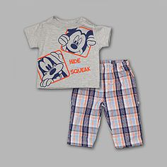 Disney- -Newborn Boy's 2 Pc Graphic Tee and Pants Mickey Set