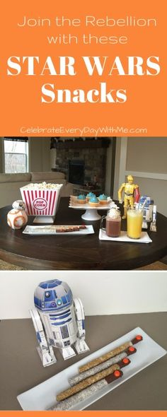 love these easy and Star Wars themed snacks for a movie marathon.  kids are going to have a blast!