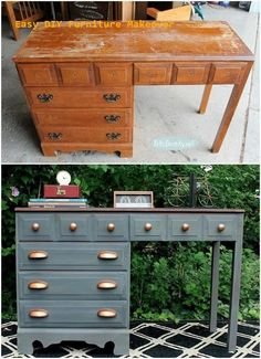 Gray and copper desk makeover. This gray-copper desk is a perfect DIY project… - . - Gray and copper desk makeover. This gray-copper desk is a perfect DIY project… – UPCYCLING IDEA - Diy Furniture Projects, Recycled Furniture, Furniture Design, Garden Furniture, Dresser Furniture, Unique Furniture, City Furniture, Rustic Furniture, Diy Furniture Repurpose