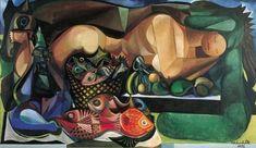 Mulher Deitada com Peixes e Frutas - Emiliano Di Cavalcanti