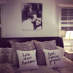 Hang a blown up engagement photo above the bed.finish the newlywed look with cute throw pillows. Perfect for your first home! Dream Bedroom, Home Bedroom, Master Bedrooms, Bedroom Artwork, Bedroom Apartment, Apartment Living, Master Suite, 1st Apartment, Master Room