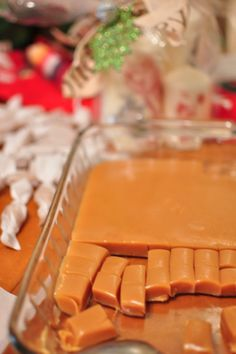 Soft caramels recipe: 1 can sweet condensed milk 2 C sugar 1 cup butter 1/2 tsp salt 1 1/2 cup white Karo Syrup Cook and stir constantly. (CONSTANTLY) cook in heavy pan until it reaches 240 degrees.