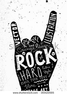 Vintage Label, Rock and Roll Style. Typography Elements.