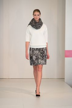 White quilted top, scarf and dress by Boss Store, Oakridge Centre Fashion Show at Luxury & Supercar Weekend – Photo: Simon Lau http://styledrama.com/2014/09/09/sportswear-influence-fall/