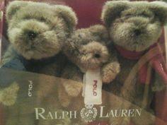 Ralph Lauren Polo Teddy Bears, set of 3, New-in-Box. Incredibly cute! 2001 #RalphLauren #NinaHydeCenterforCancerResearch