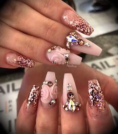 Lecenté New York Pink Multi Glitz nails by Nail Bar