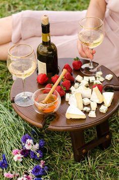 Romantic and fun picnic ideas Portable Picnic Table, Outdoor Picnic Tables, Folding Picnic Table, Wine Glass Holder, Wine Bottle Holders, Wine Bottles, Bottle Stoppers, Bottle Opener, Brunch Mesa