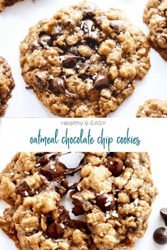 Healthy Chewy Oatmeal Chocolate Chip Cookies - PINCH ME GOOD!