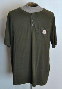 Carhartt Henley Shirt 2XL Mens Solid Green 100% Cotton Short Sleeve #Carhartt #Henley free shipping auction starting at $16.99