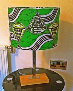 Lime green African fabric lampshade  30 cm by BespokeBinny on Etsy, £20.00