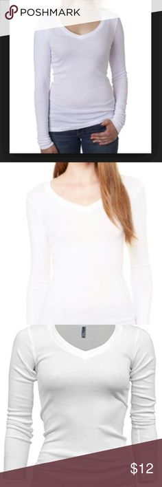 Bella Long Sleeve V Neck Top Size Small NWT Bella Long Sleeve V Neck Top Form Fitting Tee Style 8750 Form Fitting, great for wearing this under your favorite shirt Size Small New with Tags Bella Tops Tees - Long Sleeve
