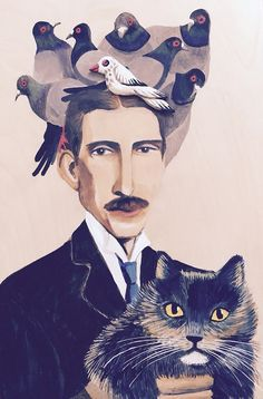 https://flic.kr/p/EZGn3u | Nicola Tesla with his cat and pigeons | Put the cat among the pigeons