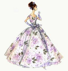 Purple and grey flowered full length ball gown with straps, gloves and decorated hair to match