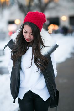 Snow Day :: Asymmetric sweater & Red accents :: Outfit :: Top :: Helmut Lang vest , Marissa Webb sweater Bottom :: Citizens of Humanity Shoes :: Rag & Bone Bag :: Rebecca Minkoff Accessories :: random red beanie, Stila 'Fiery' lipcolor Published: February 22, 2015