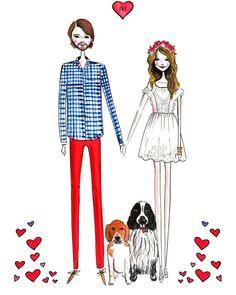 Custom valentines gift, Custom couple portrait, custom portrait, Valentines Day, Valentines Card, Personalized gift, valentines
