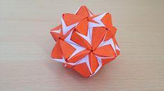 折り紙のくす玉 薗部式 花 裏出し30ユニット 折り方 Origami Kusudama sonobe flower inside out 30...