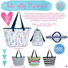 Tote-ally Thermal by Thirty-One. Spring/Summer 2016. Click to order. Join my VIP Facebook Page at https://www.facebook.com/groups/1603655576518592/  #thirtyone #thirtyonegifts