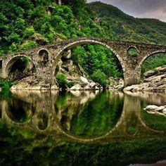 Devils Bridge, Bulgaria. Just north of the town of Ardino, crossing the river Arda #Bulgaria #DevilsBridge #VisitBulgaria
