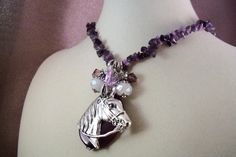THOROUGHBRED Necklace - Horse - Equine - Free Shipping - Amethyst for Wealth- Charm Necklace -   Handmade by USA Artisan - Last One by HOBBYHORSELADY on Etsy