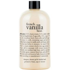 Women's Philosophy 'French Vanilla Bean' Shampoo, Shower Gel & Bubble... (€16) ❤ liked on Polyvore featuring beauty products, bath & body products, body cleansers, fillers, beauty, makeup, philosophy, hair, no color and bubble bath