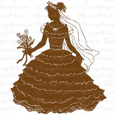 Pretty Little Girl Silhouette Dress Up Gown by graphiquesepia, $1.00
