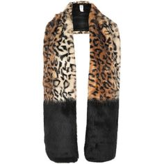 River Island Brown leopard print block stole (€40) ❤ liked on Polyvore featuring accessories, scarves, brown shawl, river island, fake fur stole, fake fur shawl and brown faux fur shawl