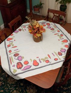 Vintage Vegetables Tablecloth Signed Luther by LovelyLinensandMore