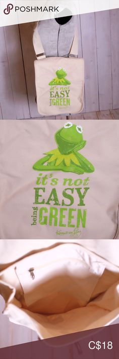 ☀️ Kermit It's Not Easy Being Green Shoulder Tote C 18, Kermit, Recycled Materials, Womens Tote Bags, Thrifting, Totes, Recycling, Environment, Smoke