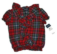 NWT Ralph Lauren Girls Multicolor Short Sleeves Plaid Ruffled Top Shirt Blouse  #RalphLauren #DressyEveryday