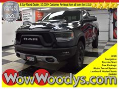 Groundbreaking exterior style! Check out this NEW 2019 Ram 1500 Rebel, equipped with a 5.7L V8 HEMI Engine, Leather & Heated Seats, 12inch Touchscreen Media Center w/Navigation, Tow Package, Backup Camera, and Remote Start! Steel Spare Wheel, Single Stainless Steel Exhaust, Rear Cupholder, Fixed Antenna, Fade-To-Off Interior Lighting, Engine Oil Cooler, Clearcoat Paint, Analog Display, TRANSMISSION: 8-SPEED AUTOMATIC (8HP75), TRAILER TOW GROUP -inc: Power Black Trailer Tow Mirrors, & much more!