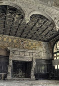 Antique Fireplace Prior to Reclamation in an Old Italian Mansion.  http://www.AncientSurfaces.com/Antique-Fireplaces.html