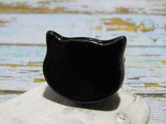 Bague tête de chat noir céramique métal cuivré