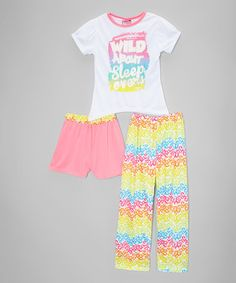 Love this White & Pink 'Wild About Sleepovers' Pajama Set - Girls on #zulily! #zulilyfinds