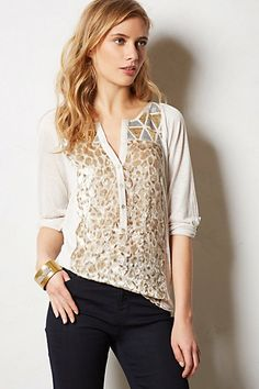 Tiny Starry Peasant Top #anthropologie
