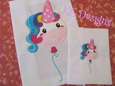 Cute Unicorn Balloon Machine Applique Embroidery Design