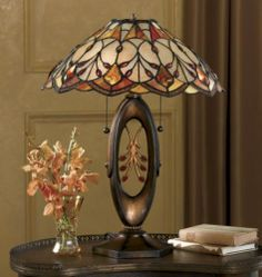 Golden Stained Glass Table Lamp from Seventh Avenue ® Stained Glass Lamp Shades, Stained Glass Table Lamps, Stained Glass Light, Tiffany Stained Glass, Stained Glass Designs, Stained Glass Projects, Stained Glass Patterns, Antique Lamps, Vintage Lamps