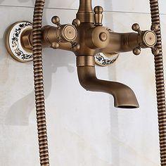 New Arrival Rain Shower Faucets With Ceramic Mixer Tap Antique Brass Bath Shower Faucet Set Bathtub Faucet 5515560 2017 – $173.02