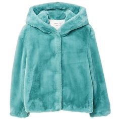 MANGO Faux fur hooded coat ($120) ❤ liked on Polyvore featuring outerwear, coats, aqua green, fur-lined coats, hooded coat, mango coats, blue fur coats and blue coat