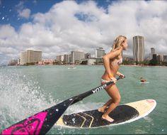 Vanina SUP surfing at Queens in Waikiki Hawaii  http://www.vaninawalsh.com/